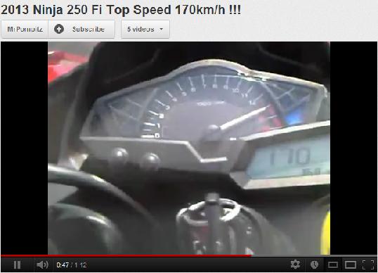 video) top speed ninja 250 FI 2013 170 km/h !!! | vixionr15 !!!